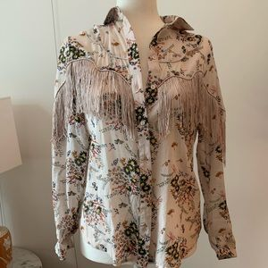 Topshop button down fringed pink blouse